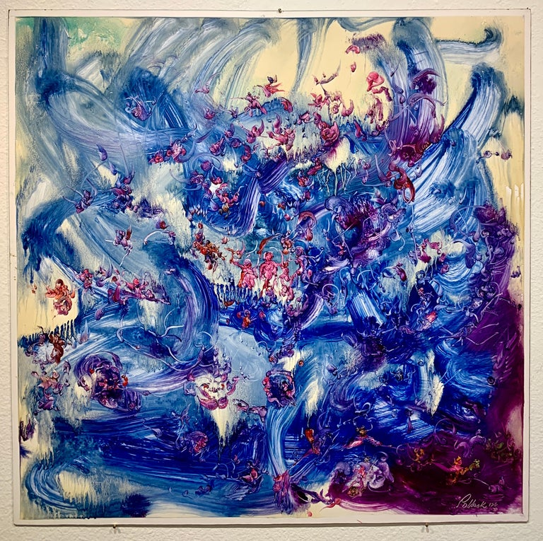 Blue World, Reginald Pollack Abstract Expressionist Oil on Masonite Ocean Sea  Oil on Masonite painting by late American Artist Reginald Pollack.  It has a 1/4