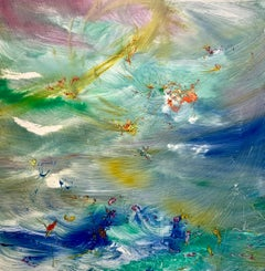 Constellation Over The Sea, Reginald Pollack Abstract Blue Oil on Masonite