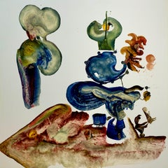 Dr. Pollack's Magic Show, Reginald Pollack Abstract Oil on Masonite Green Blue