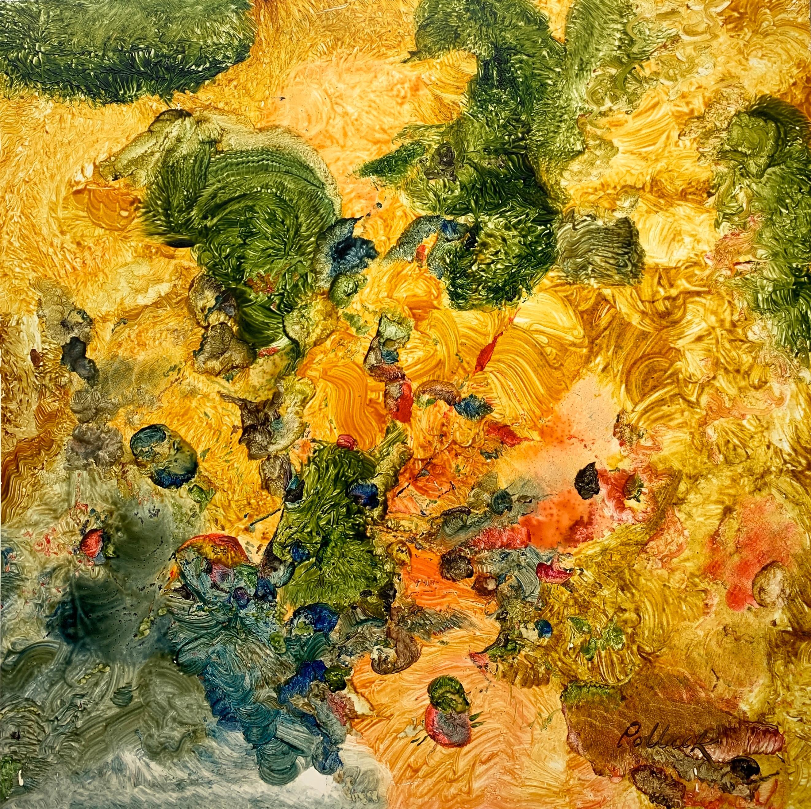Entrance to the Yellow Garden, Reginald Pollack Abstract Oil on Masonite