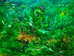 Forest Angel, Reginald Pollack Abstract Expressionist Oil on Masonite Green