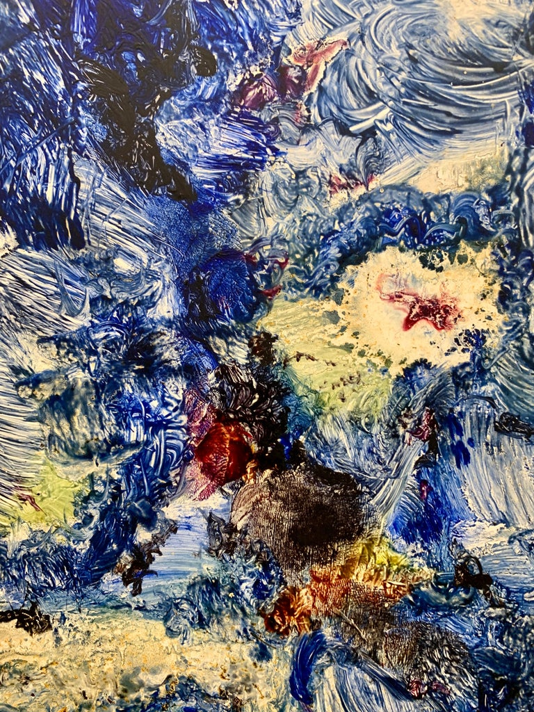 God Creates the Sea, Reginald Pollack Abstract Expressionist Oil Masonite 1970  An early work.  Oil on Masonite painting by late American Artist Reginald Pollack.  It has a 1/4