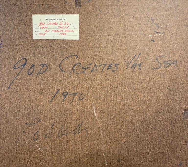 God Creates the Sea, Reginald Pollack Abstract Expressionist Oil Masonite 1970 For Sale 4