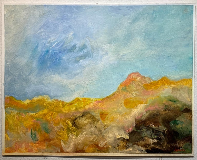 Golden Desert, Reginald Pollack Abstract Expressionist Oil on Canvas Board Sky - Gray Figurative Painting by Reginald Pollack