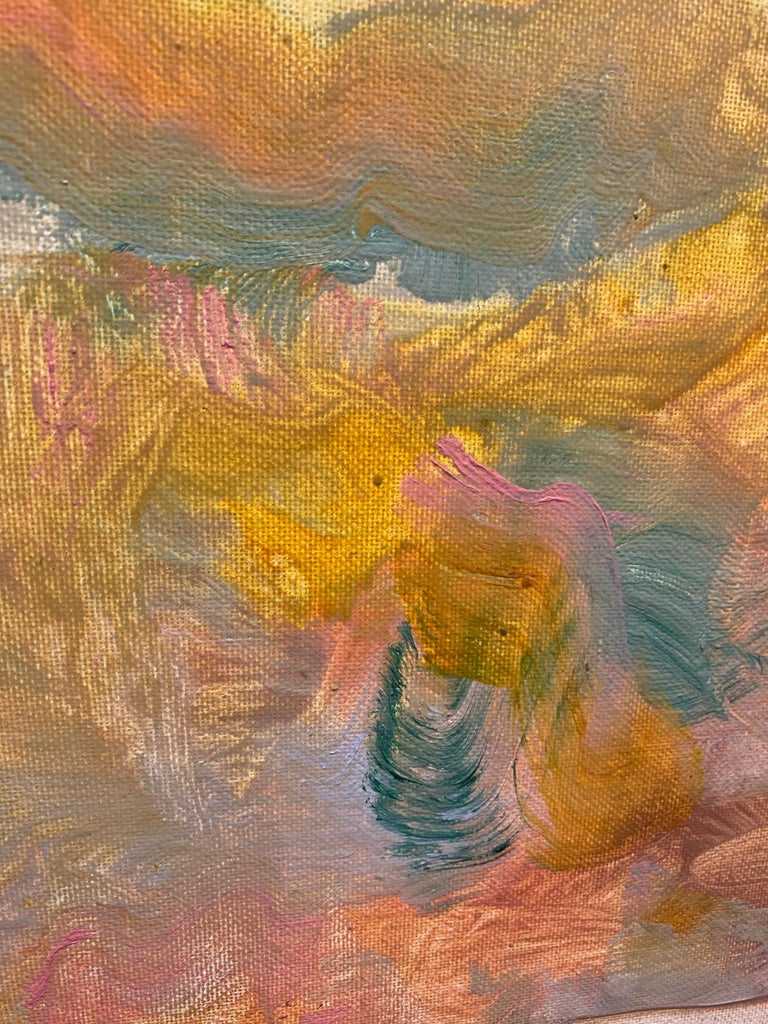 Golden Desert, Reginald Pollack Abstract Expressionist Oil on Canvas Board Sky For Sale 2
