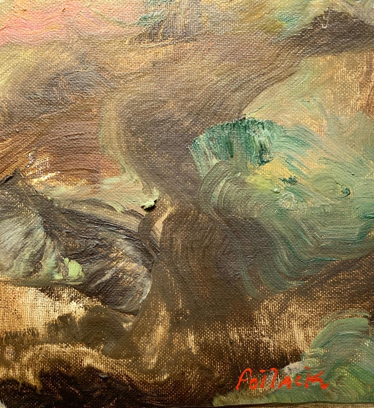 Golden Desert, Reginald Pollack Abstract Expressionist Oil on Canvas Board Sky For Sale 3