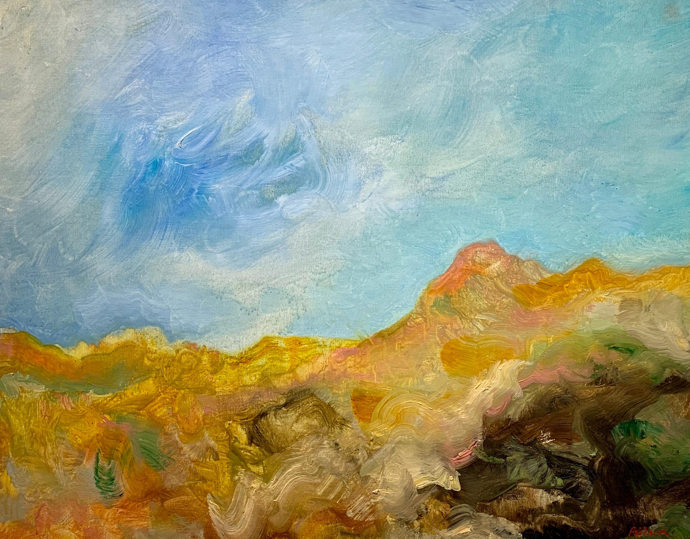 Golden Desert, Reginald Pollack Abstract Expressionist Oil on Canvas Board Sky