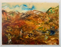 In the Haut Atlas, Reginald Pollack Abstract Expressionist Oil Masonite Desert