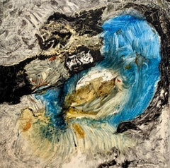 Mixed Element, Reginald Pollack Abstract Oil on Masonite Black White Blue