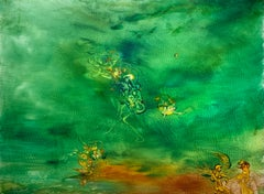 Mystical Event, Reginald Pollack Abstract Expressionist Oil on Masonite Green