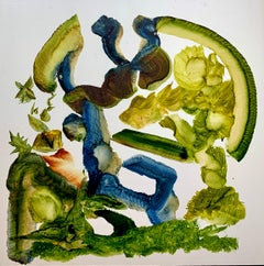 Precarious Structure, Reginald Pollack Abstract Oil on Masonite Green Blue