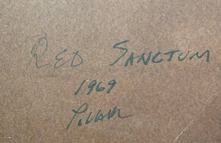 Red Sanctum, Reginald Pollack Abstract Oil on Masonite For Sale 3