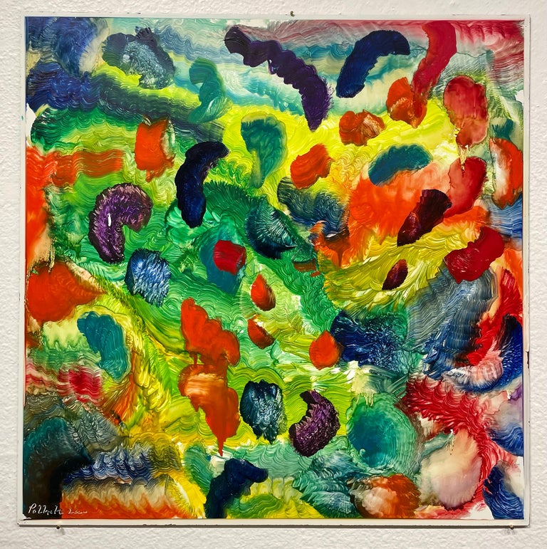 Spirit of Baroque, Reginald Pollack Abstract Oil on Masonite Multicolor Music - Abstract Expressionist Painting by Reginald Pollack