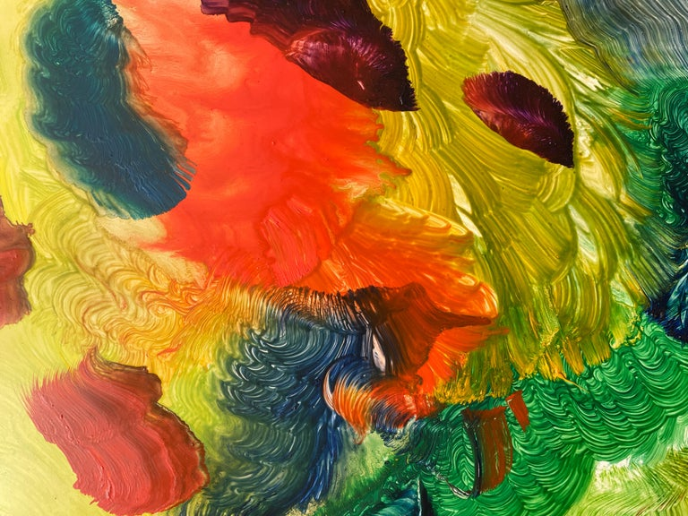 Spirit of Baroque, Reginald Pollack Abstract Oil on Masonite Multicolor Music - Brown Abstract Painting by Reginald Pollack