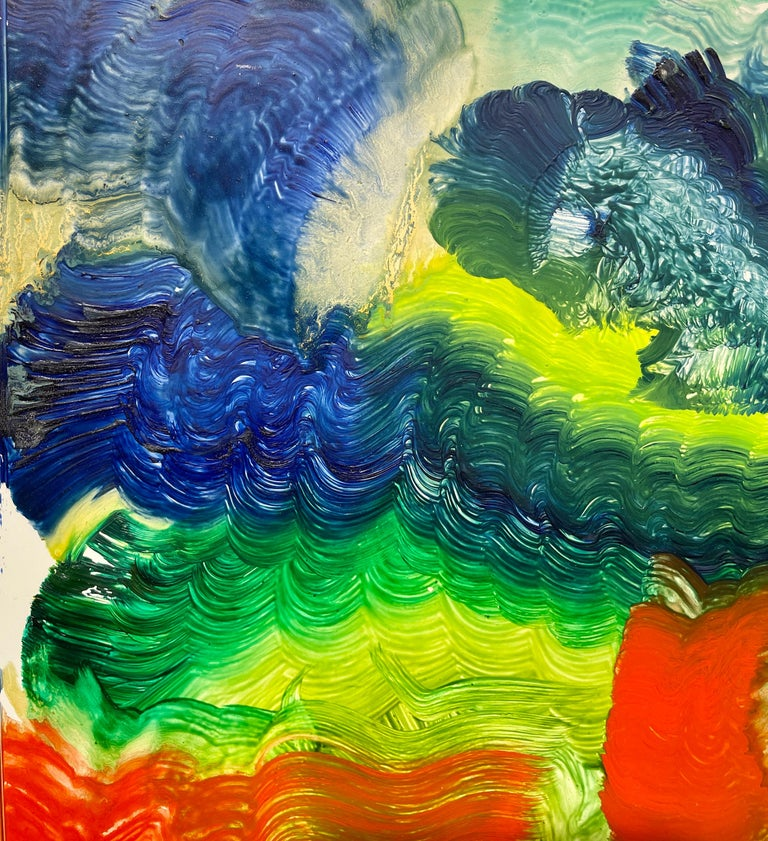 Spirit of Baroque, Reginald Pollack Abstract Oil on Masonite Multicolor Music  2000 Oil on Masonite painting by late American Artist Reginald Pollack.  This painting is from the artist's personal collection, and is being offered for sale in