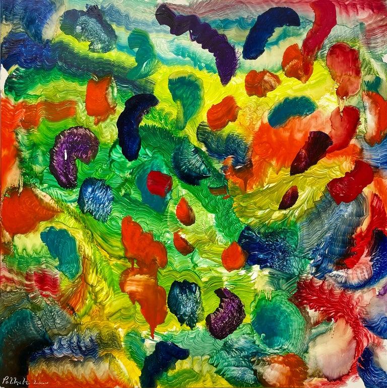 Spirit of Baroque, Reginald Pollack Abstract Oil on Masonite Multicolor Music - Painting by Reginald Pollack