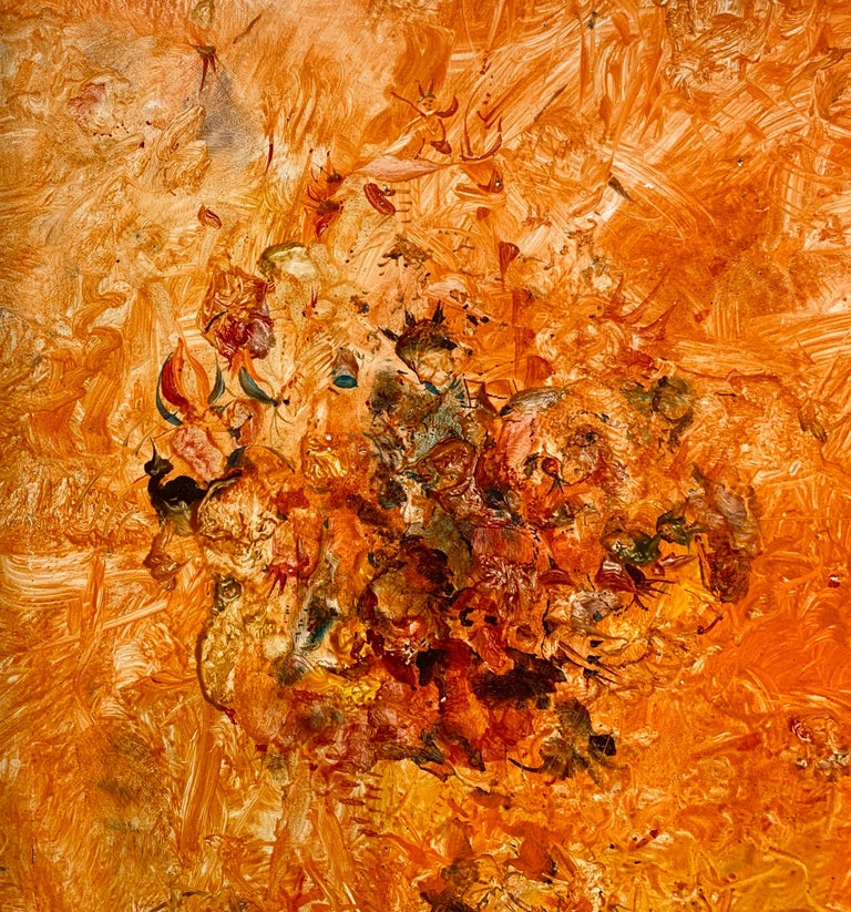 The Invention of Orange!, Reginald Pollack Abstract Oil on Masonite - Brown Figurative Painting by Reginald Pollack