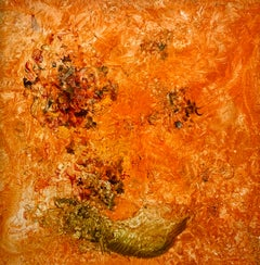 The Invention of Orange!, Reginald Pollack Abstract Oil on Masonite