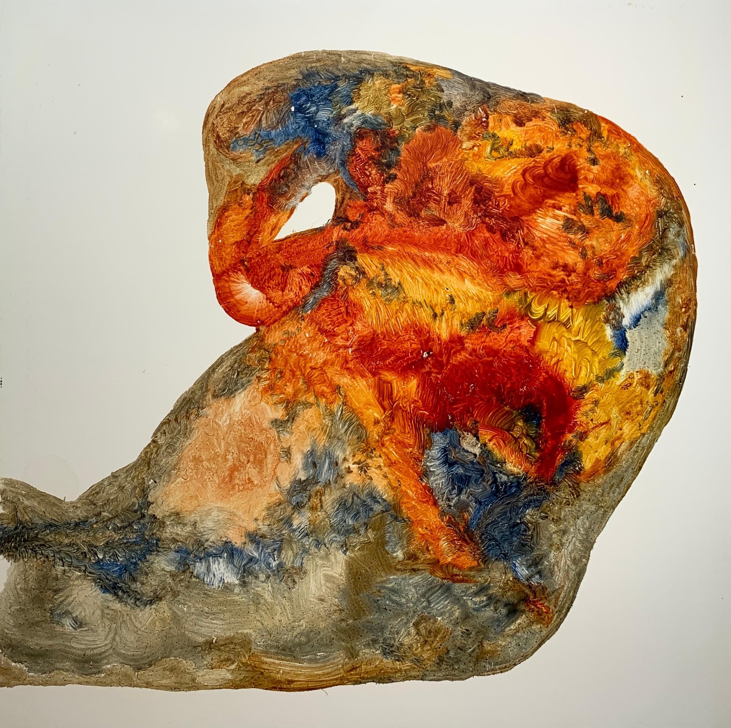 Unexplained Artifact, Reginald Pollack Abstract Oil on Masonite Orange