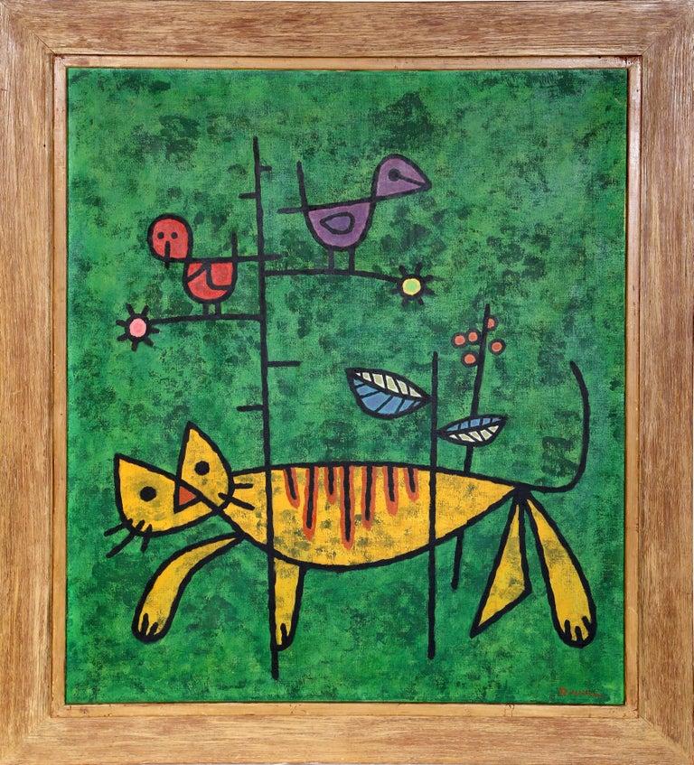 Reginald Wilson Animal Painting - Cat and Birds