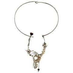 Regine and Frank Juhls Designer Freeform Sterling Silver Necklace, Vintage