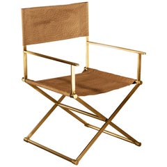 Regista Chair, Natural Solid Brass and Leather
