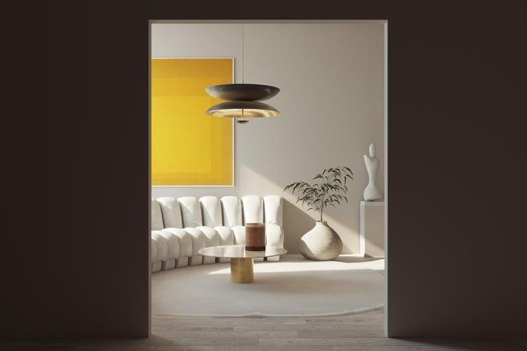 Organic Modern 'Cosmic Regolith' Black Patina & Gradient Bronzed Brass Pendant Lamp, Chandelier For Sale