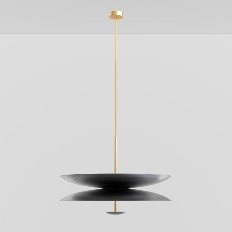 'Cosmic Regolith' Black Patina & Gradient Bronzed Brass Pendant Lamp, Chandelier In New Condition For Sale In London, GB