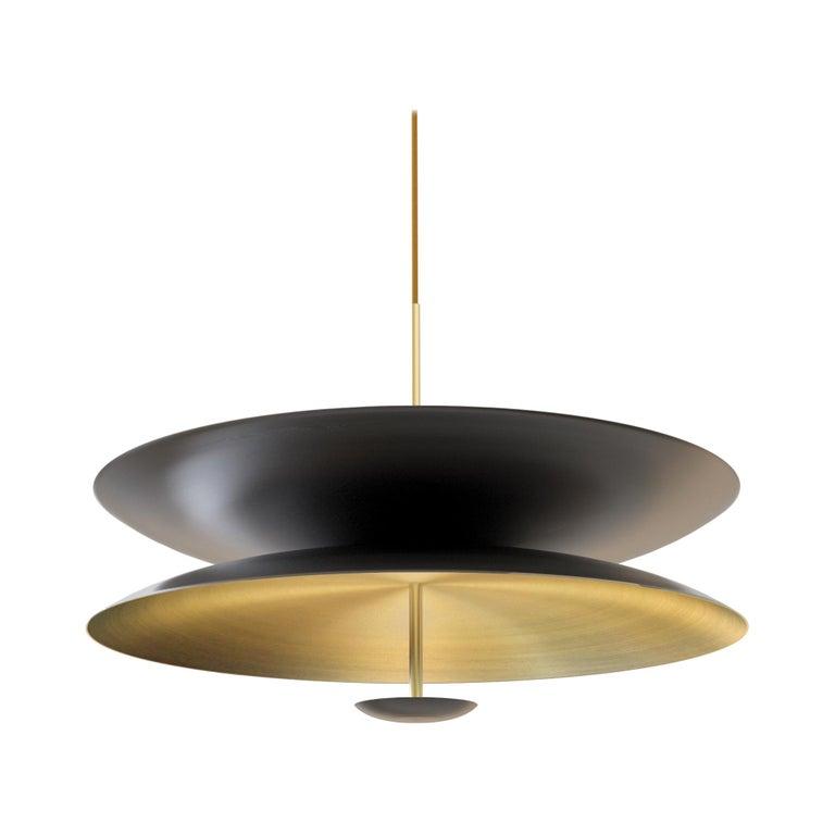 'Cosmic Regolith' Black Patina & Gradient Bronzed Brass Pendant Lamp, Chandelier For Sale