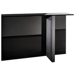 Black Regolo Glass Console, Designed by Lievore Altherr Molina, Made in Italy