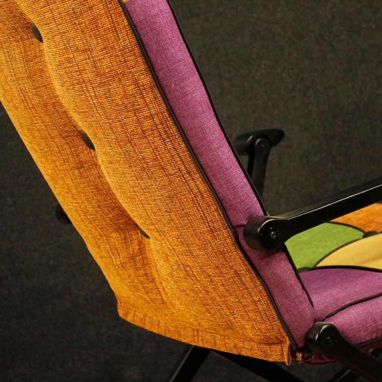 Reguitti 20th Century Lacquered Wood and Fabric Italian Design Rocking Armchair For Sale 7