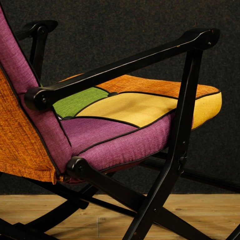 Reguitti 20th Century Lacquered Wood and Fabric Italian Design Rocking Armchair For Sale 8
