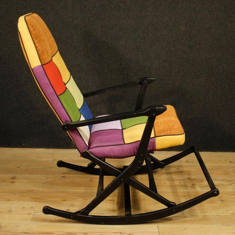 Reguitti 20th Century Lacquered Wood and Fabric Italian Design Rocking Armchair For Sale 1