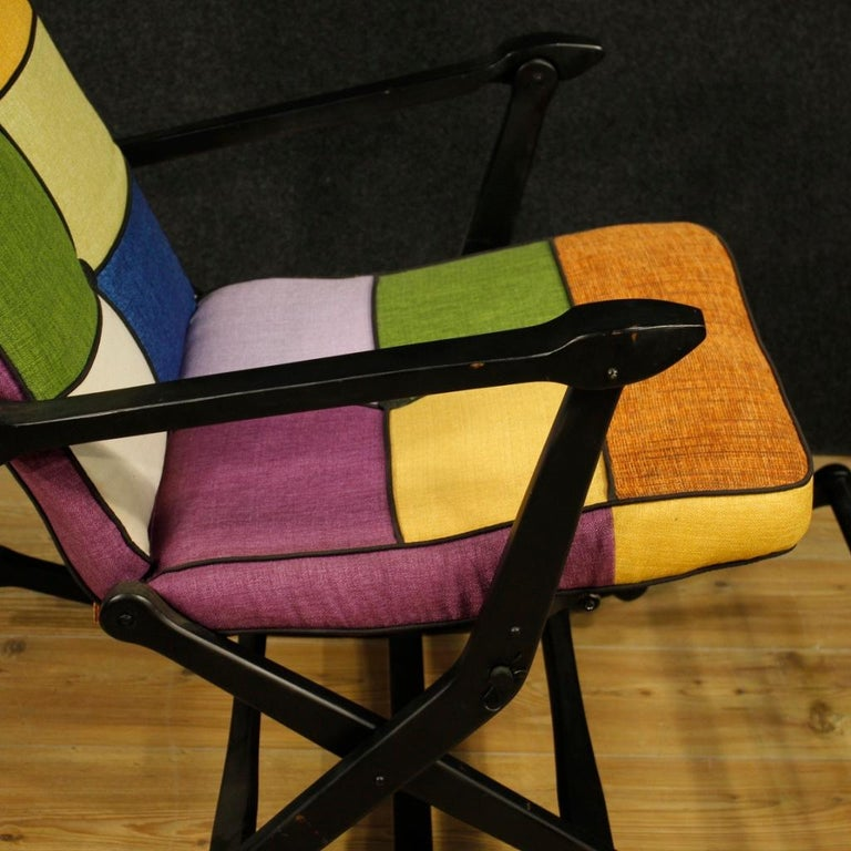Reguitti 20th Century Lacquered Wood and Fabric Italian Design Rocking Armchair For Sale 2