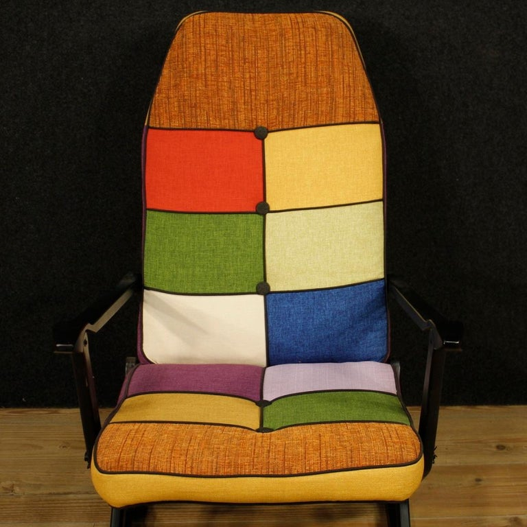 Reguitti 20th Century Lacquered Wood and Fabric Italian Design Rocking Armchair For Sale 3