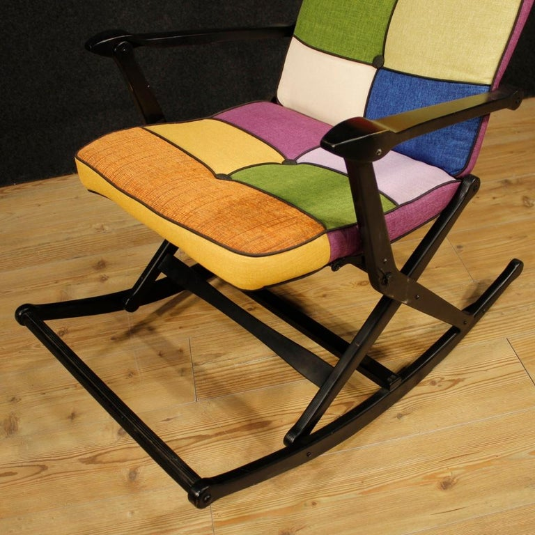 Reguitti 20th Century Lacquered Wood and Fabric Italian Design Rocking Armchair For Sale 4