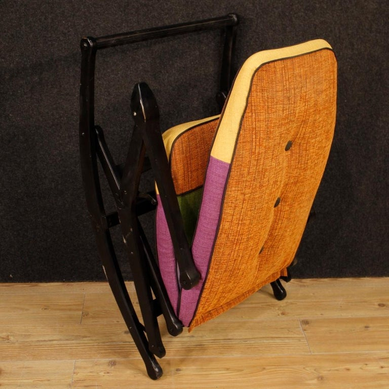 Reguitti 20th Century Lacquered Wood and Fabric Italian Design Rocking Armchair For Sale 5