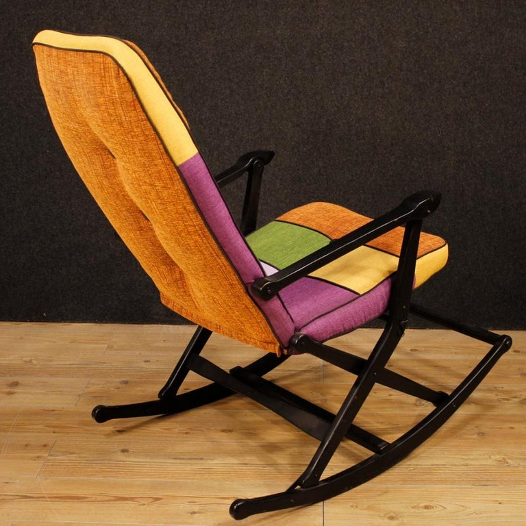 Reguitti 20th Century Lacquered Wood and Fabric Italian Design Rocking Armchair For Sale 6