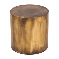 Regular Antique Brass Pebble Drum Side Table