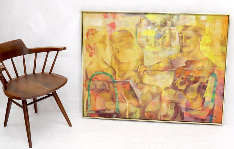 Mid-Century Modern abstract painting depicting a practicing violinist signed Joseph Wolins.