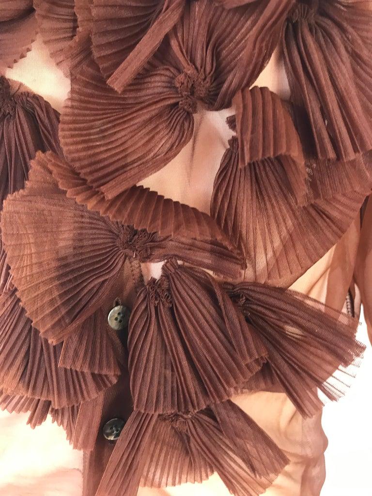 Brown Rei Kawakubo 1990s sheer nylon brown top For Sale