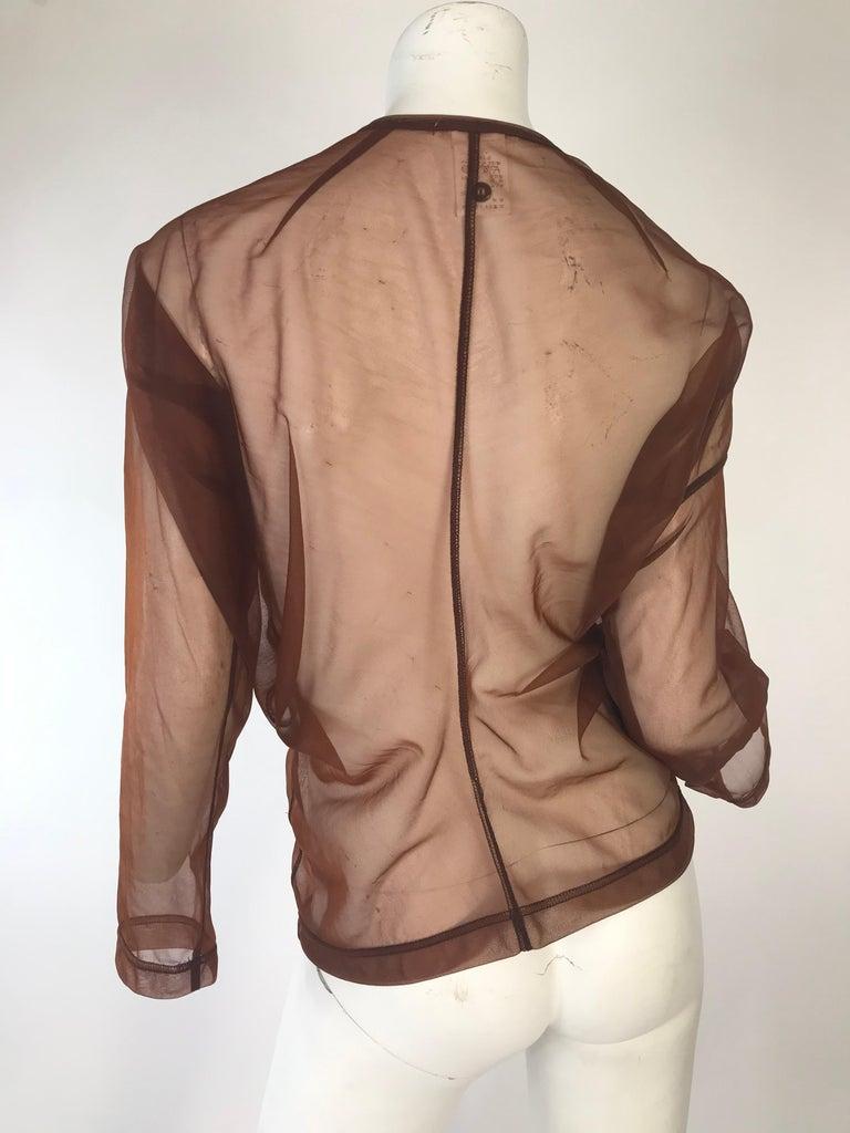 Rei Kawakubo 1990s sheer nylon brown top In Fair Condition For Sale In Austin, TX