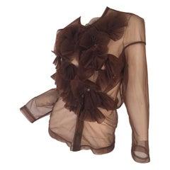 Rei Kawakubo 1990s sheer nylon brown top