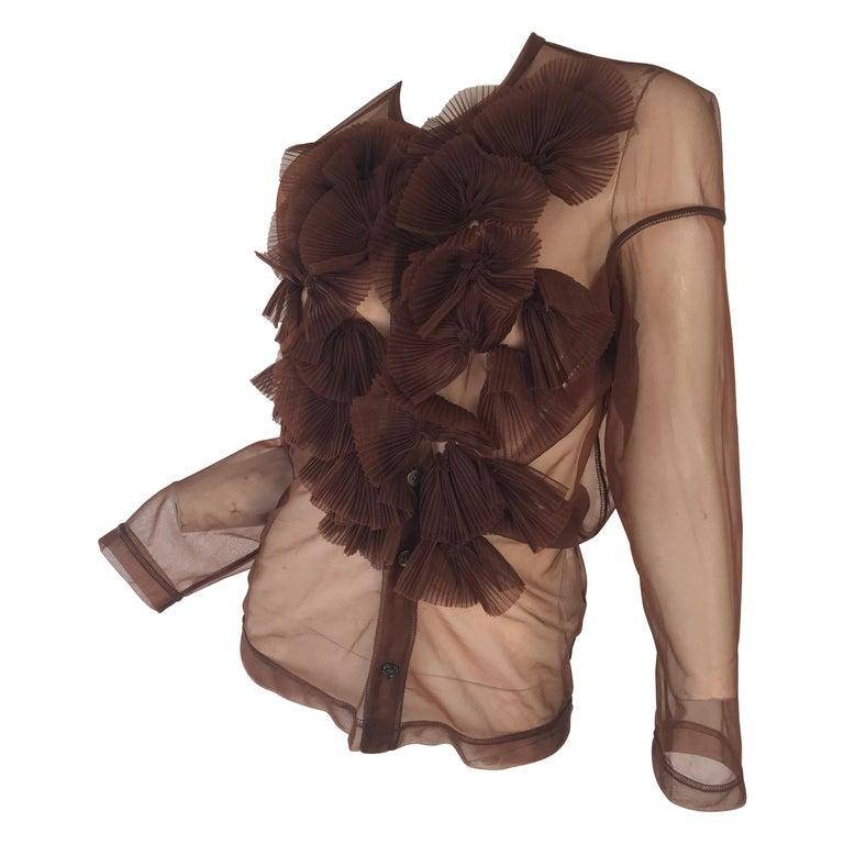 Rei Kawakubo 1990s sheer nylon brown top For Sale
