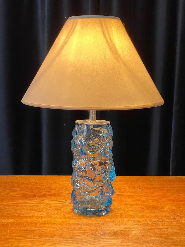 Scandinavian Modern Reijmyre Glasbruk, Organic Table Lamp, Metal, Blue Glas, Fabric, Sweden, 1940s For Sale