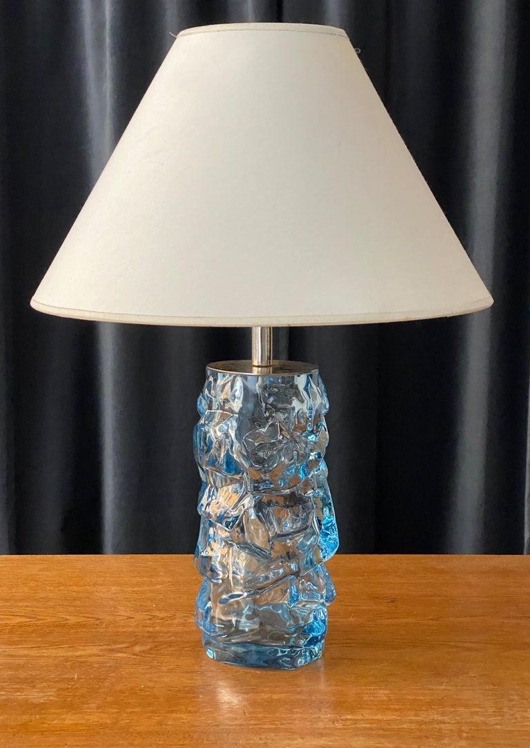 Swedish Reijmyre Glasbruk, Organic Table Lamp, Metal, Blue Glas, Fabric, Sweden, 1940s For Sale