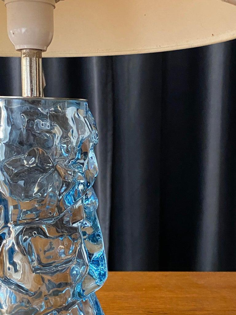 Mid-20th Century Reijmyre Glasbruk, Organic Table Lamp, Metal, Blue Glas, Fabric, Sweden, 1940s For Sale