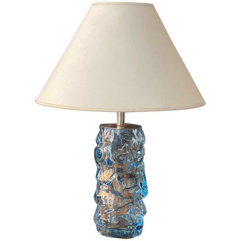 Reijmyre Glasbruk, Organic Table Lamp, Metal, Blue Glas, Fabric, Sweden, 1940s For Sale
