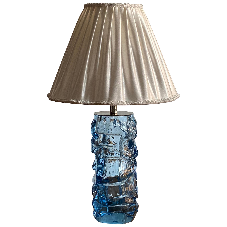 Reijmyre Glasbruk, Organic Table Lamp, Metal, Blue Glas, Fabric, Sweden, 1940s