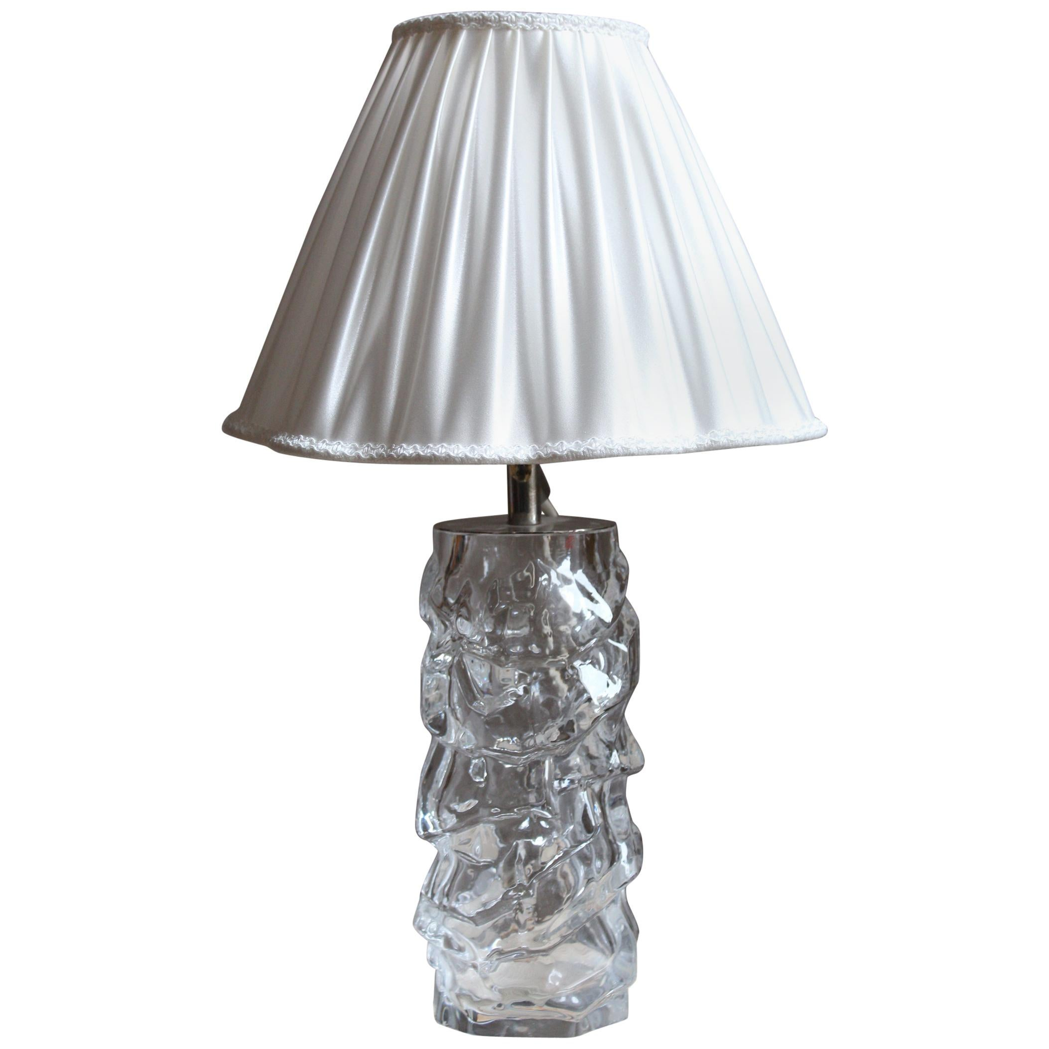 Reijmyre Glasbruk, Organic Table Lamp, Metal, Glas, Fabric, Sweden, 1940s